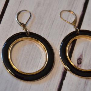 large vintage black enamel gold hoop earrings